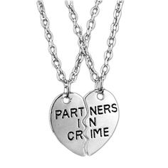 MJartoria Best Friend Necklaces Partners in Crime Engraved Friendship BFF Necklace for 2 Bestfriend Necklaces For 2, Bff Necklaces, Best Friend Necklaces, Couple Necklaces, Best Friend Jewelry, Best Friend Gifts, Gifts For Friends, Gifts For Her, Heart Pendant Necklace