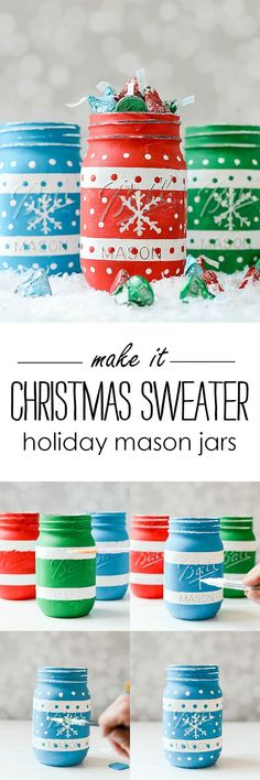 Christmas Sweater Painted Mason Jars with Hershey Kisses Sweater Foils @It All Started With Paint blog www.itallstartedw... #ad
