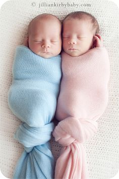 POD PEOPLE: Adorable little bound babies ... Boy baby, all scrunched up in his baby-blue blanket, while princess baby pink is like a pea in a pod. Bunched-up baby legs can knot be all that comfortable, right?