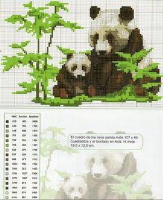 laboresdeesther Punto de cruz gratis : Pandas a punto de cruz