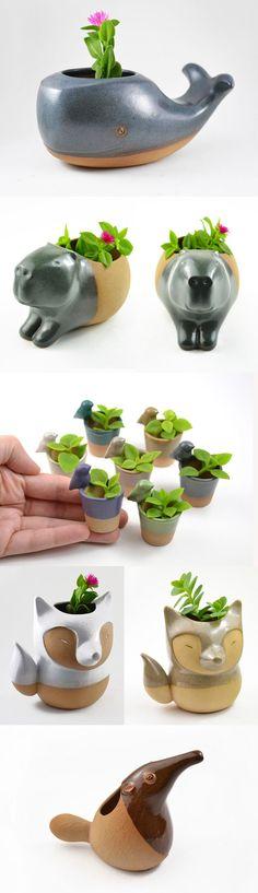Handmade Ceramic Animal Planters by Cumbuca Chic