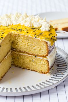 Super delicious passionfruit cake made with a fluffy buttercream and passionfruit curd. Cake Tins, Cake Plates, Thermomix Desserts, Dessert Recipes, Cake Recipes, Passion Fruit Cake, Smooth Icing, Springform Cake Tin, How To Make Cake