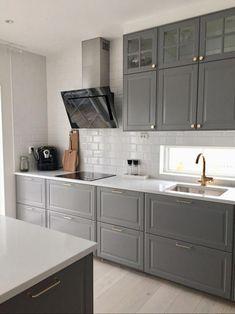How to clean your kitchen credenza? Bodbyn Kitchen Grey, Kitchen Ikea, Long Kitchen, Farmhouse Kitchen Cabinets, Grey Kitchens, Kitchen Furniture, Home Kitchens, Kitchen Decor, Furniture Stores