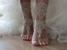 Champagne Bridal Shoes Light Beige Handmade Embroidered With Pearl Lace Sandals Anklet
