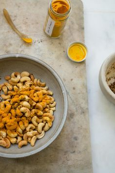 Turmeric Cashews Recipe - Turmeric Cashews tossed with cayenne, nori, and sesame. Inspired by The Good Gut written by Stanford researchers Justin and Erica Sonnenburg. Keep your microbiota happy. - from 101Cookbooks.com