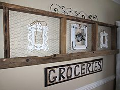 Down to Earth Style: Old Wood & Chicken Wire Art - 2x4's and chicken wire - seems pretty easy.