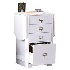 Showcasing 3 drawers and 1 lower letter file, this fold-out white desk saves space in your home office or craft room. Wood Drawers, Small Drawers, Fabric Cutting Table, Fold Out Desk, Mobile Craft, Sewing Cabinet, Craft Desk, Craft Rooms, Sewing Table