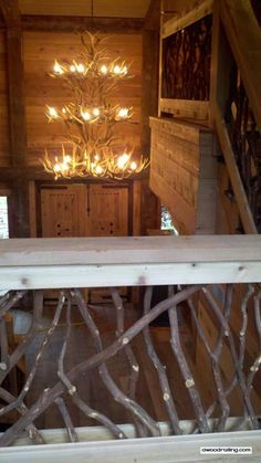 Railing And Antler Chandelier Grand Stair Railing In