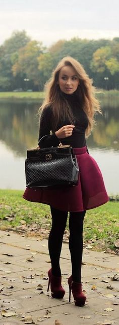 burgundy skirt fall fashion Love except the fact that its a turtle neck!