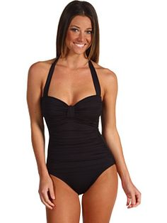 Tommy Bahama - Pearl Shirred One Piece Halter w/ Tummy Control