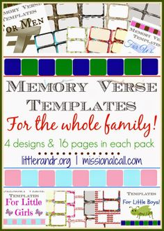 Memory Verse Templates for the whole family  {Rays of Grace & Joy} Salt & Light Feature