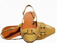 """Salvatore Ferragamo - Leather """"Calvina"""" Slingbacks - Camel - Size 9 C US / Wide Width"""