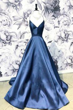 Simple v neck dark blue long prom dress 2dcd506eaf1a