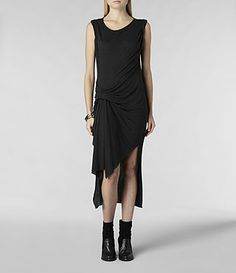 Womens Riviera Jersey Dress (Charcoal Marl) | ALLSAINTS.com