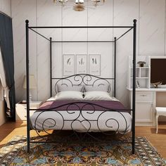 Metal Canopy Bed, Full Bed Frame, Bed Frame And Headboard, Metal Beds, Headboards For Beds, Black Headboard, Metal Platform Bed, Aesthetic Rooms, Bed Reviews