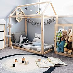 Wonder Space Handmade Montessori Floor Bed Frame Wooden House - Natural Pine Wood, Perfectly Fit Mostly Toddlers Bed & Baby Crib Mattress, Cute Kids Children Room Decoration for Little Boys Girls Toddler Floor Bed, Toddler House Bed, Toddler Rooms, House Beds For Kids, Baby Floor Bed, Floor Beds, Bed For Kids, Kids Rooms, Kids Toddler Bed
