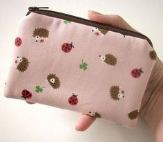 Pink Hedgehog Linen Japanese Import Eco Friendly Padded Coin Purse by JPATPURSES, $9.00