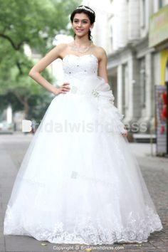 Beading A-Line Hourglass Sweetheart Floor-length Embellished Wedding Dresses