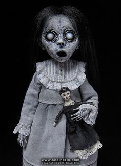 Morbid Art Doll- Christina. Ghost Art Doll created by Shain Erin. It's handmade and is 8 inches tall.