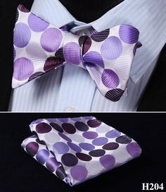 Check Dot Floral Paisley Men Woven Silk Wedding Self Bowtie handkerchief Set #H2