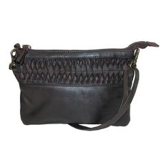 This genuine leather handbag can be carried as a clutch or worn as a shoulder and cross body bag. The two removable straps are included. The wristlet features a 6 inch drop for comfortable carrying. The shoulder strap adjusts up to 22 inches long and can be worn over the shoulder or as a cross body. The front of this bag features a lovely leather ruffle for added style. The fully lined cotton interior features a large slip pocket ideal for a smart phone and a back wall zippered pocket for…