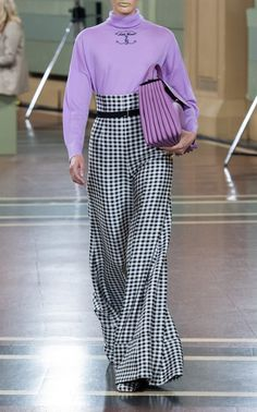 These pants by Emilia Wickstead, expertly crafted to elevate any look, are distinguishable with its high-rise waist, allover gingham detail, and wide-leg silhouette. Black Collared Dress, Gingham Pants, Purple Outfits, Emilia Wickstead, Flare Pants, Fashion Outfits, Womens Fashion, Fashion Fashion, Fashion Trends