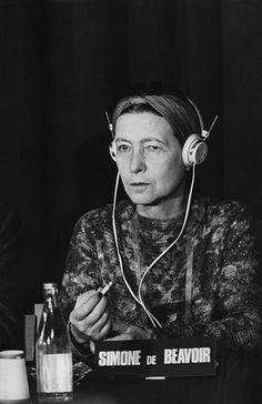 Simone de Beauvoir, member of the Russell War Crimes Tribunal against the Vietnam War, in Stockholm, Sweden in 1967.