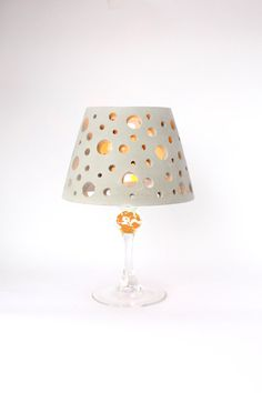 Christmas light Wine glass concrete lamp shade Luminary. $30