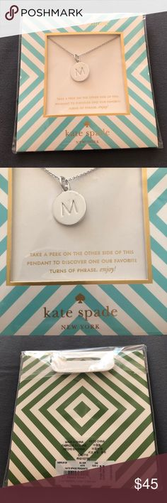 """Kate Spade Initial """"M"""" Necklace Brand new with tags! Got for Christmas gift and never wore. Super pretty with letter """"M"""" in front and """"one in a million"""" on the back. kate spade Jewelry Necklaces"""