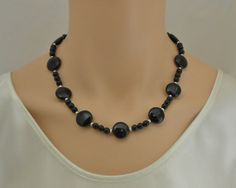 Onyx and sterling silver necklace by SilverSerenade on Etsy, $45.00