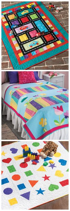 Quilt patterns from More Quick & Easy Quilts for Kids from Annie's! Order here: https://www.anniescatalog.com/detail.html?prod_id=134762&cat_id=1644
