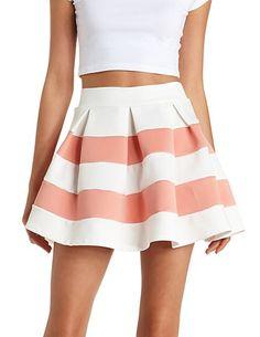 Pleated & Striped Skater Skirt: Charlotte Russe