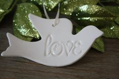 Handmade Ceramic Love Dove Ornament or Wall Hanging on Etsy, $14.00