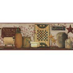 York Wallpaper CB5509BD Hearts & Crafts III Primitive Pineapple Border