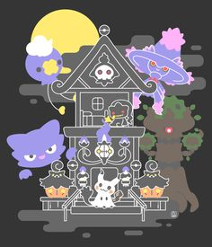 "quiescentsnow: "" Spoopy ghost Pokemon in a spoopy house "" Pokemon Halloween, Chandelure Pokemon, Pokemon Fantasma, Ghost Type Pokemon, Pokemon Stuff, Pokemon Backgrounds, Catch Em All, Anime, Digimon"