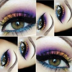 Colorful eye shadow look using Sugarpill cosmetics