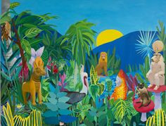 "Adela Leibowitz, Fertility, strength, knowledge (Apis Bull, Thoth and Apkallu in Dilmun) , 2013, oil on linen, 40""x52"""