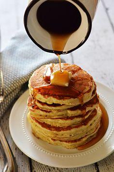 Fluffy Old Fashioned Pancakes easy to make all purp flr. bk soda . bk pwdr. sugar vinegar milk. oil butter. eggs vanilla