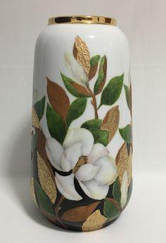 Sandra and Maria Vumbaca, Ceramic artists. Magnolias On Porcelain Vase. Rustic Ceramics, Australian Art, Magnolias, Porcelain Vase, Ceramic Artists, Earthenware, Clay Art, Ceramic Pottery, Glaze