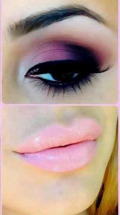 Pink, purple, and black eyeshadow blending.