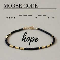 A fun and simple beaded #bracelet with the word HOPE written in Morse Code! Each glass seed bead is carefully hand strung. All metal components are 14K Gold fill.
