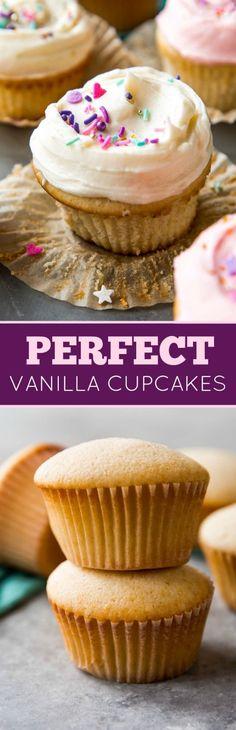 Fluffy, soft, light, and simply perfect vanilla cupcakes. They will be your new go-to homemade vanilla cupcake recipe! http://sallysbakingaddiction.com