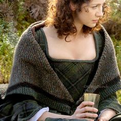 Outlander Claire Rent Shawl Triangle Tweed by KnitzyBlonde - http://KnitzyBlonde.etsy.com