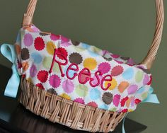 Flower Dot Personalized / Monogrammed Easter by LeelynnCrafts, $26.00- Can't wait to pull out my Leelynn craft easter baskets- Love them!