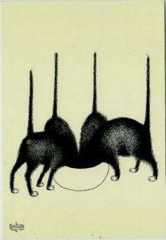 Chats gourmands par ALBERT DUBOUT, (1905-1976) who was a French cartoonist, illustrator, painter, and sculptor.