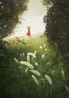 Girl with red dress in a field illustration Art Anime Fille, Anime Art Girl, Manga Art, Pretty Art, Cute Art, Japon Illustration, Anime Scenery, Landscape Art, Amazing Art