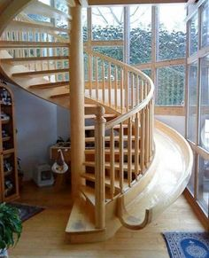 slide attached to spiral staircase = awesome!