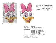 Disney Daisy Duck face cross stitch baby bib idea free download - free cross stitch patterns by Alex