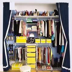 Keep the trend? Or toss it? Keep your closet and drawers in top shape with these expert tips. | SELF Closet Curtains, Closet Doors, Closet Bedroom, Walk In Closet, Hidden Closet, Closet Redo, Chloe's Closet, Long Curtains, Hanging Curtains