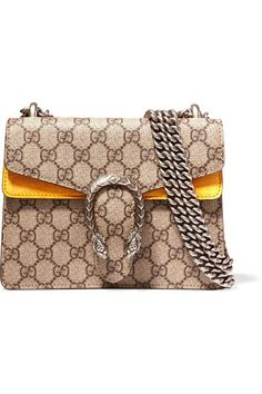Gucci | Dionysus mini coated canvas and suede shoulder bag | NET-A-PORTER.COM